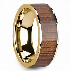 Wide koa wood inlay men39s wedding ring in yellow gold for Mens wedding rings with wood inlay