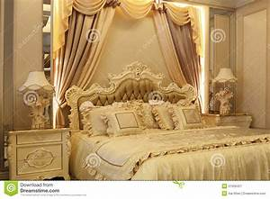 Golden Bed Stock Photo - Image: 51559427