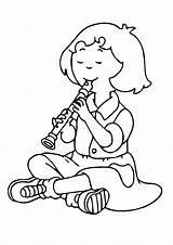 Flute Playing Sarah Coloring Pages Printable Music Cartoon Categories Caillou Coloringonly sketch template