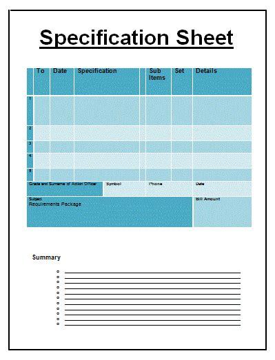 specification sheet template  sheet templates