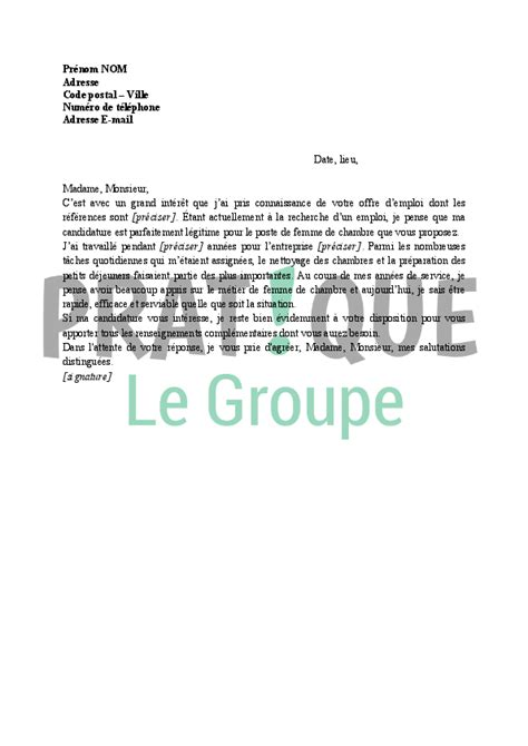 lettre de motivation pour femme de chambre pratique fr