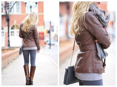 Neutral Mix Brown Leather Jacket Oversized Plaid Scarf