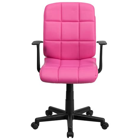 mid back pink quilted vinyl swivel task chair with arms