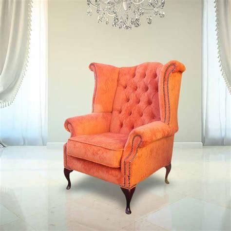 orange velvet chesterfield high  chair designersofasu