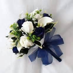 blue wedding flowers wedding flowers bouquets brides bouquet 2 posies cala lilies navy blue roses