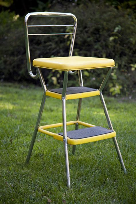 retro kitchen step stool chair   eclectibull