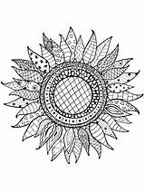 Coloring Pages Sunflower Adults Adult Printable Zentangle Mycoloring Teens sketch template