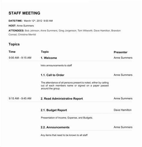 formal meeting agenda template   meeting agenda
