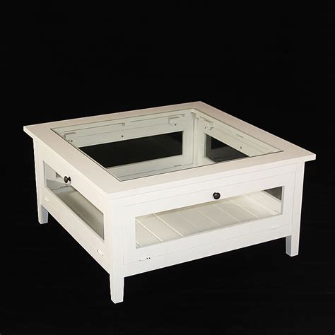 table basse bois massif blanche avec plateau verre made