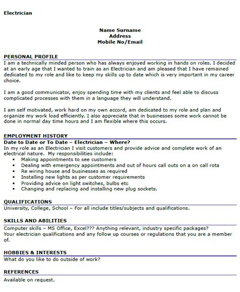 It Pm Resume by Electrician Cv Exle Icover Org Uk