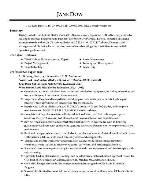 wind energy engineer resume wind technician cover letter