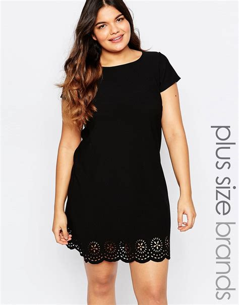 lace 3 4 sleeve midi dress plus size shift dress with laser cut hem by praslin black