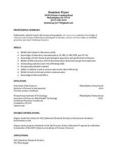 entry level science resume entry level forensic scientist resume