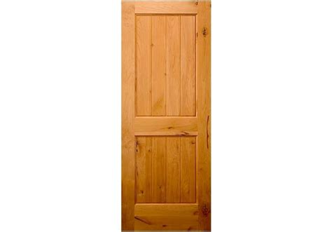 Knotty Alder 2 Panel V-groove Square Top Door (1-3/4