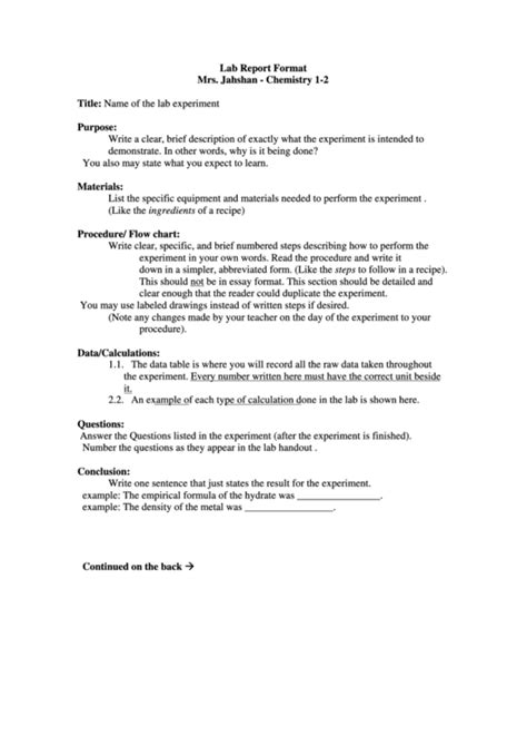 lab report format  jahshan chemistry   printable