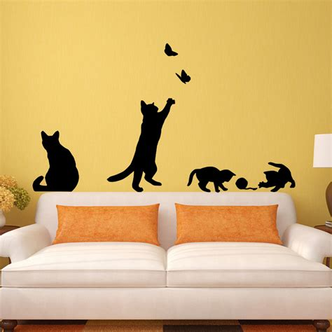 stickers de chambre cat play butterflies wall sticker removable decoration