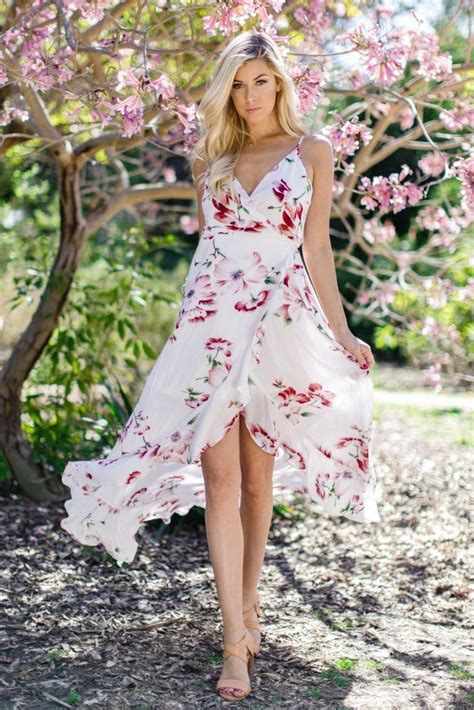 White Floral Ruffle Trim Hi-Low Wrap Tie Dress | Wrap tie ...