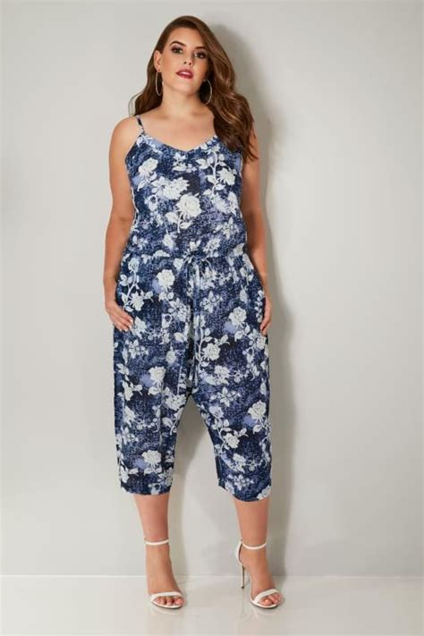 navy blue floral print jumpsuit plus size 16 to 36