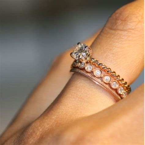 stackable wedding and twisted band engagement ring in rose gold kriss kro ring