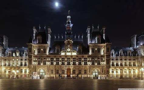 hotel de ville  night paris france ultra hd desktop