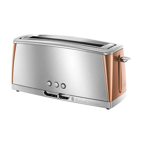 russell hobbs stainless steel luna  slice long slot toaster  copper buysbest