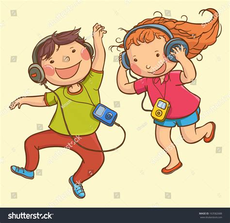 listening to ipod clipart illustration listening ipod children stock