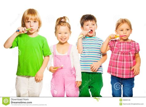 The Boy In The Girls Bathroom by Four Kids Brushing Teeth Stock Photo Image 38993140