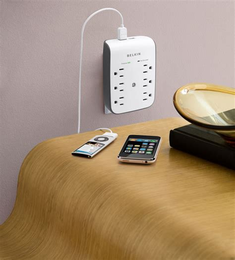 hotel ls with outlets and usb amazon com belkin 6 outlet wall mount surge protector
