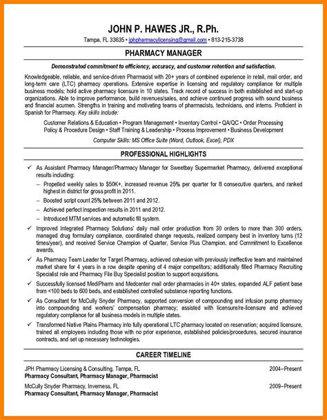 Resume Overview Exles by 11 12 Retail Pharmacist Resume Exles