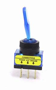 On-off Extended Handle Illuminated Toggle Switches - Blue