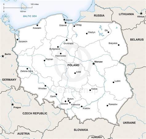 vector map  poland political  stop map