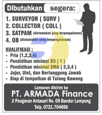 bursa kerja lampung pt armada finance