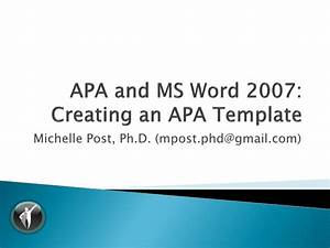 Office 2007 Apa Template Apa 6th Ed Ms Word 2007 Template Tutorial V1