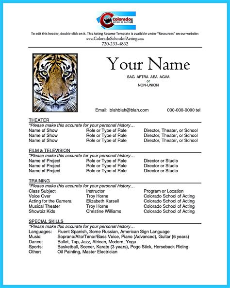 pin  resume samples acting resume template acting