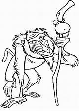 King Lion Coloring Rafiki Pages Printable Sheet Baboon Shaman Advisor sketch template