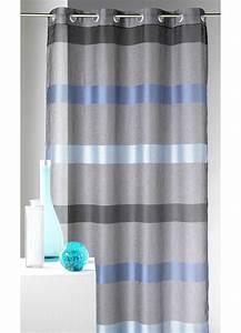 Kit Rayure Vitrage : voilage rayures horizontales design bleu figue ~ Premium-room.com Idées de Décoration