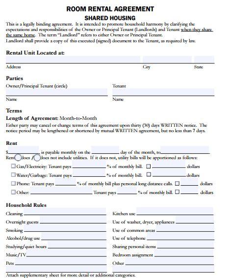 room rental agreement form template 5 room rental agreement form templates formats exles