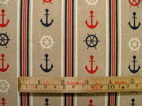 nautical anchor ticking linen look fabric curtain upholstery
