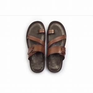 9778 brown leather slippers hitz shoes With letter slippers