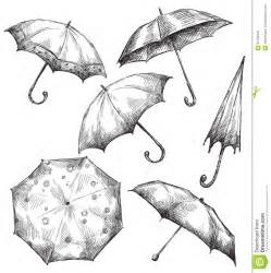 umbrella baby shower set of umbrella drawings stock photo image