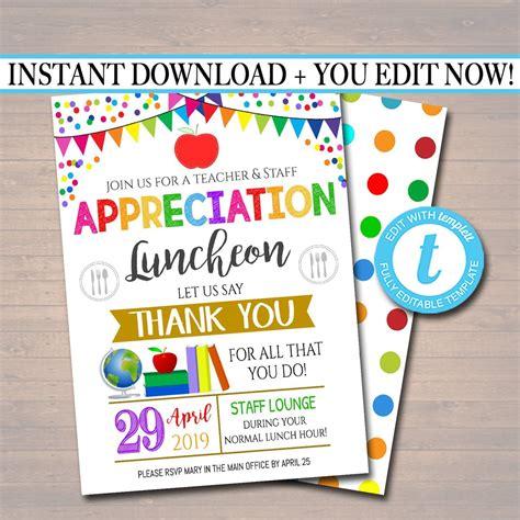 editable teacher appreciation staff invitation