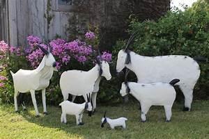 Old Tin Art Farm Goats for Yard Decorations