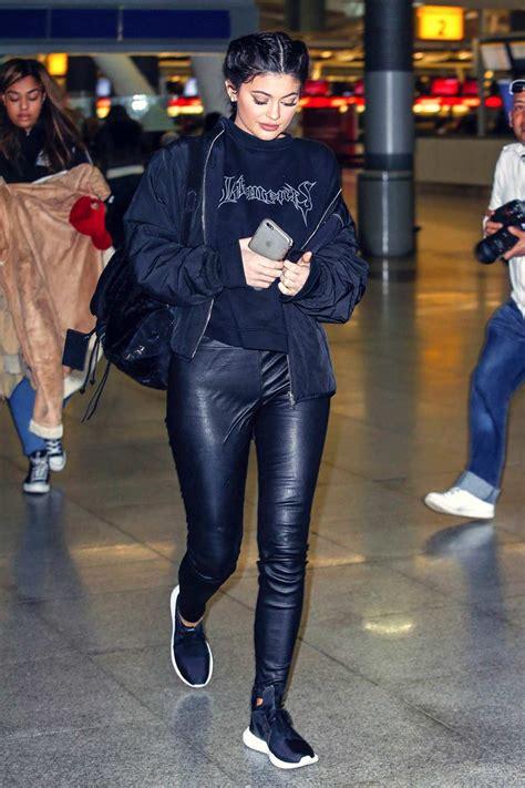 kylie jenner arrives  jfk airport leather celebrities