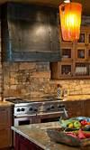 rustic kitchen with stone backsplash 29 Cool Stone And Rock Kitchen Backsplashes That Wow