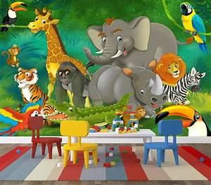 Jungle Cartoon Wall Mural Home Design Blog Ideas Kidsroom