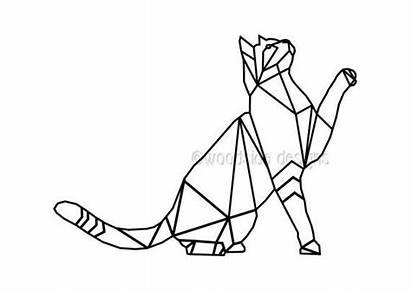 Geometric Tattoo Unique Cat Triangular Instant Low