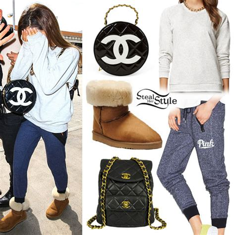 ariana grande  chanel bag sweats steal  style
