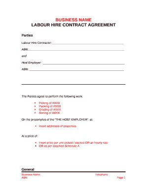 labour hire agreement template  template pdffiller