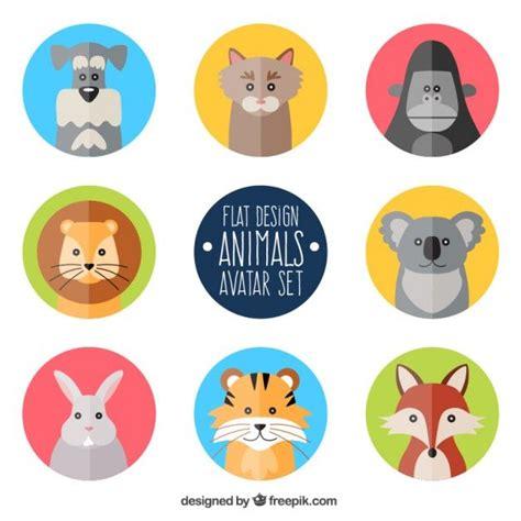 animal avatars  flat design  vector concept art