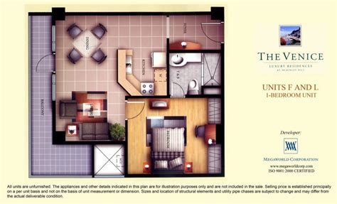 One Bedroom Unit Layout by 1 Bedroom Unit At Venice Luxury Residences Mckinley Hill